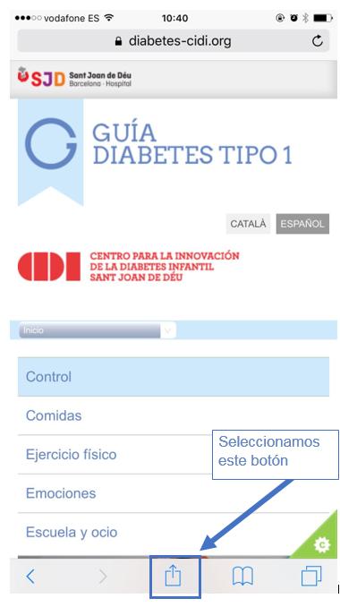 opciones de menú de navegación móvil para diabetes