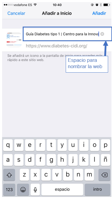 acceso directo iphone a guía diabetes