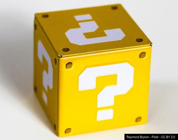 Caja hecha de interrogantes