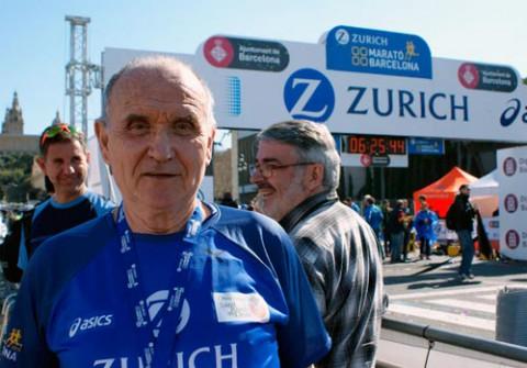 Miquel Pucurull a la meta de la Marató de Barcelona 2015