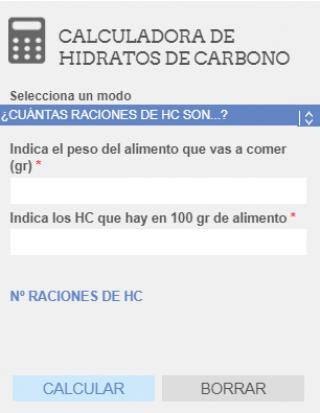 acceso directo a la calculadora de hidratos de carbono